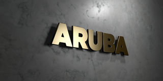 Aruba - Gold sign mounted on glossy marble wall  - 3D rendered royalty free stock illustration. This image can be used for an online website banner ad or a Stock Images