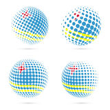 Aruba halftone flag set patriotic vector design. 3D halftone sphere in Aruba national flag colors isolated on white background Royalty Free Illustration