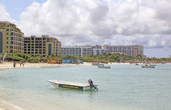 Aruba Hotels on the Caribbean Sea Stock Photography