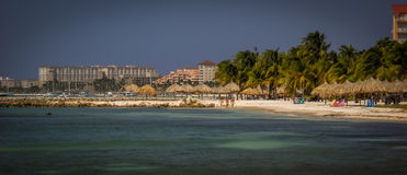 Aruba Image with Palm Beach Hotels and Atlantic Ocean Royalty Free Stock Images