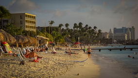 Aruba Image with Palm Beach Hotels and Atlantic Ocean Royalty Free Stock Photo