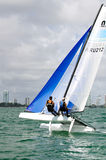 Aruba at the ISAF Sailing World Cup Miami. Miami, USA, February 1, 2014 -  Nicole Van der Velden and Thijs Visser were one of two teams representing Aruba at the Stock Photography