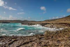 Aruba landskap i den atlantiska sidan Royaltyfri Foto