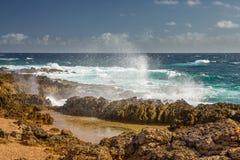 Aruba landskap i den atlantiska sidan Royaltyfria Bilder