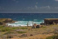 Aruba landskap i den atlantiska sidan Arkivfoton