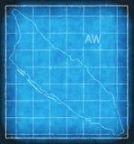 Aruba mapy błękitnego druku grafiki ilustraci sylwetka Fotografia Stock