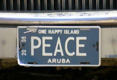 Aruba registreringsskylt Royaltyfri Fotografi