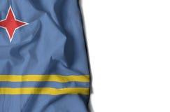 aruba rynkade flaggan, utrymme för text Fotografering för Bildbyråer