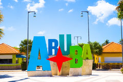 Aruba Sign. Aruba tourism colorful welcome sign royalty free stock photo