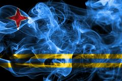 Aruba smoke flag, Netherlands dependent territory flag.  Royalty Free Stock Photography