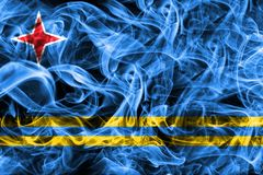 Aruba smoke flag, Netherlands dependent territory flag.  Stock Photos