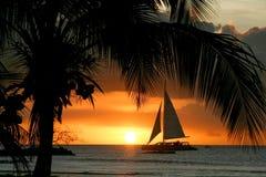 Aruba solnedgång arkivbild