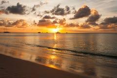 Aruba sunset. Sailing ship at aruba sunset Stock Photography