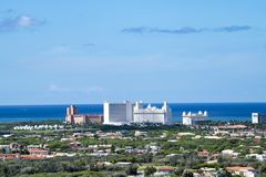 Aruba, view to International Hotels and Caribbean Sea stock photography