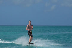 Aruba Wakeboarder in Tropical Blue Waters in the Carribean Royalty Free Stock Photos