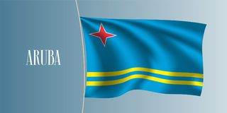 Aruba waving flag vector illustration Stock Image