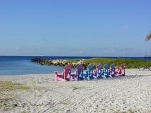 Aruban Chairs. Beach chairs at an Aruban resort stock photos