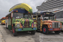 Aruban excursion buses. At the Cruise Terminal Stock Photography