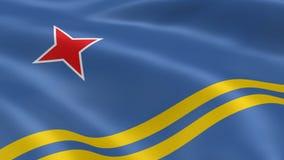 Aruban flag in the wind stock footage