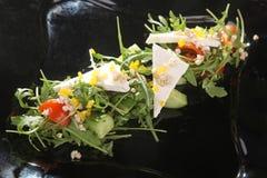 Arugula και τυρί στο μαύρο πιάτο Στοκ Εικόνες