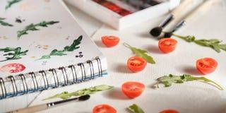 Arugula ντοματών ANS κερασιών Στοκ φωτογραφία με δικαίωμα ελεύθερης χρήσης