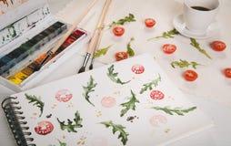Arugula d'american national standard de tomates-cerises illustration stock