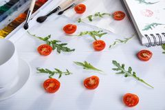 Arugula d'american national standard de tomates-cerises illustration libre de droits