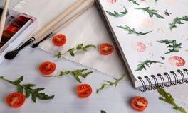 Arugula d'american national standard de tomates-cerises illustration de vecteur