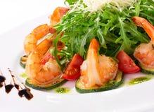 Arugula dish with shrimp Stock Images