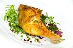 arugula duży kurczaka noga piec Zdjęcie Stock