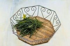 Arugula en una cesta figurada de su metal y madera imagen de archivo libre de regalías