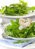 Arugula with prawn Stock Photos