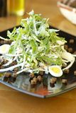Arugula salad with bacon, radish, quail eggs and crackers. Arugula salad with bacon, radish, quail eggs and rye crackers Stock Image
