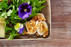 Arugula salad with goat cheese honey and nuts. Arugula mediterranean salad with goat cheese honey flowers and nuts stock photos