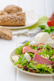 Arugula salad with meat and mozzarella Royalty Free Stock Photography