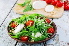 Arugula salad with mozzarella Stock Images