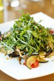 Arugula salad with oyster mushrooms, tomatoes, eggplant and nuts Royalty Free Stock Photography