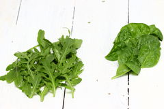 Arugula and spinach. Leaves of spinach and arugula over wooden background. Shallow DOF stock photo