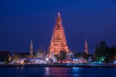 Arun寺庙或晓寺夜视图 库存照片