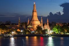 Arun temple Bangkok Thailand landmark. River front Stock Photos