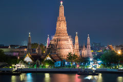 Arun temple or Temple of dawn night view, The most famous Thailand tourist destination. Stock Photo