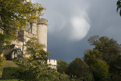 Arundal castle. Gardens with cloudy sky Royalty Free Stock Photography