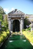 Arundel Castle Gardens. Formal pond in the Collector Earl's Garden in the grounds of Arundel Castle in East Sussex, the stately home of the Duke of Norfolk Stock Photo
