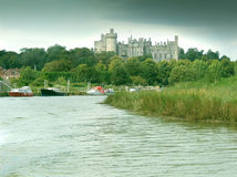 Arundel from the river. Arundel Castle viewed from the River Arun in West Sussex stock image