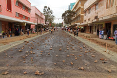 Arusha Street Covered in Rocks. A street in Arusha, Tanzania, covered in Rocks to stop cars from driving on it so the asphalt can cure royalty free stock images