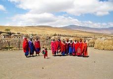 ARUSHA, TZ - CIRCA AUGUST 2010 - Masai village in Serengeti Royalty Free Stock Photos