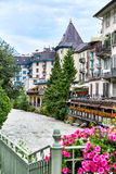 Arve river and buildings of Chamonix. View of Arve river, buildings of Chamonix Mont Blanc, French Alps, selective focus stock photography