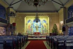 Arvidsjaur教会的内部,瑞典 免版税库存图片