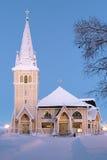 Arvidsjaur kyrka i vinter, Sverige fotografering för bildbyråer