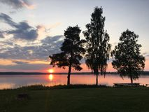 Arvika. Sunset with Birches in Arvika, Värmland, Sweden Royalty Free Stock Images